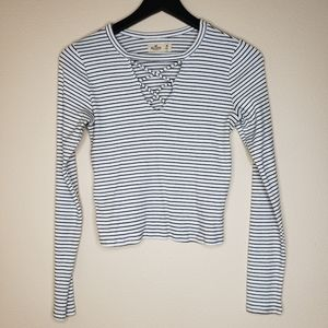 Hollister Striped Cropped Long Sleeve Size Medium